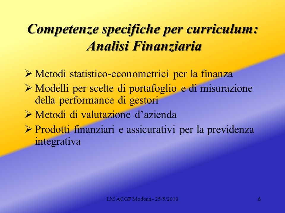 Competenze specifiche per curriculum: Analisi Finanziaria
