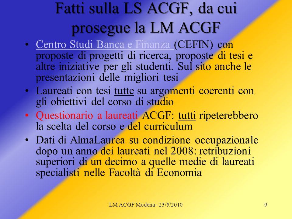 Fatti sulla LS ACGF, da cui prosegue la LM ACGF