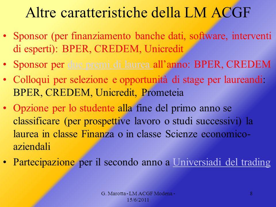 Altre caratteristiche della LM ACGF