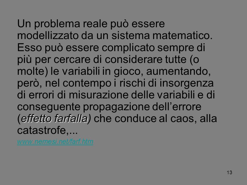 Un problema reale può essere modellizzato da un sistema matematico