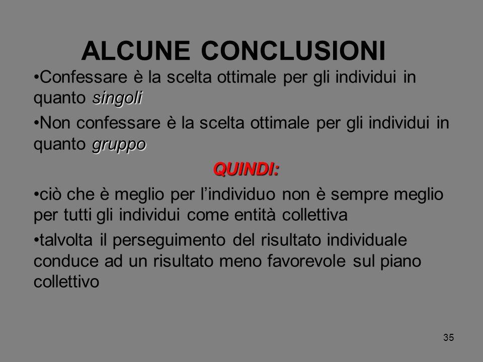 ALCUNE CONCLUSIONI Confessare è la scelta ottimale per gli individui in quanto singoli.