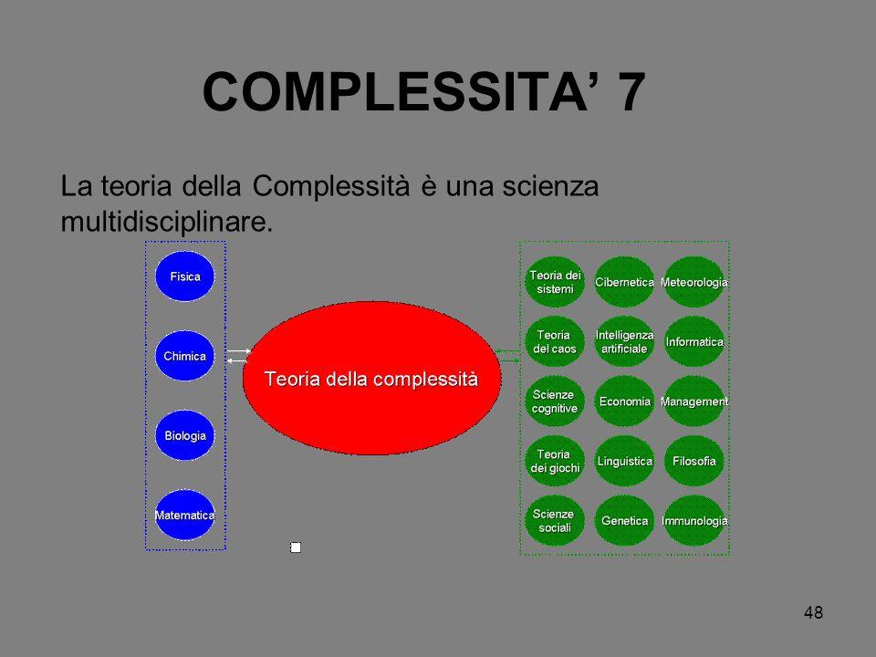 La teoria della Complessità è una scienza multidisciplinare.