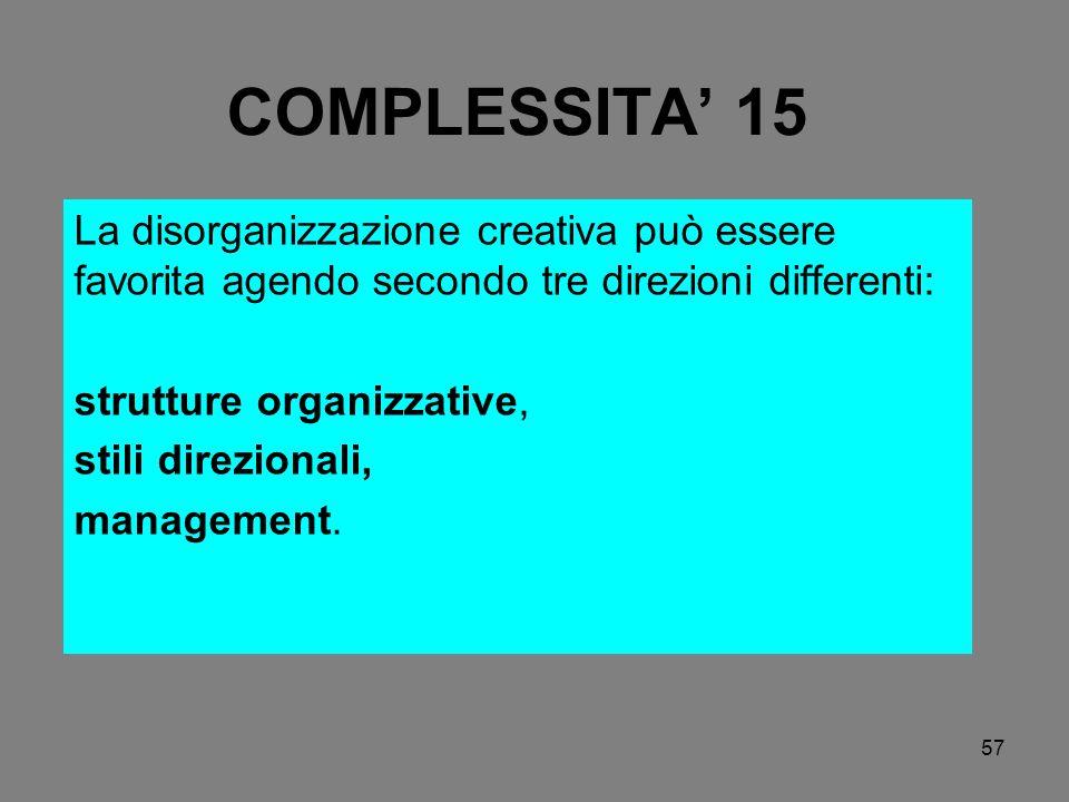 COMPLESSITA' 15 La disorganizzazione creativa può essere favorita agendo secondo tre direzioni differenti: