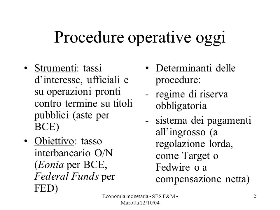Procedure operative oggi