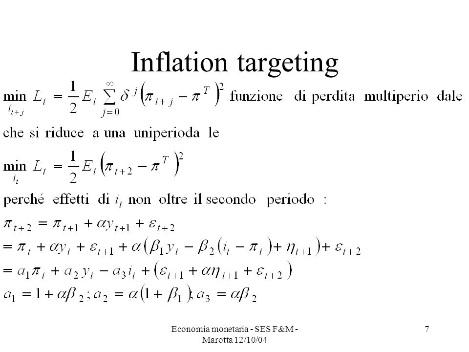 Economia monetaria - SES F&M - Marotta 12/10/04