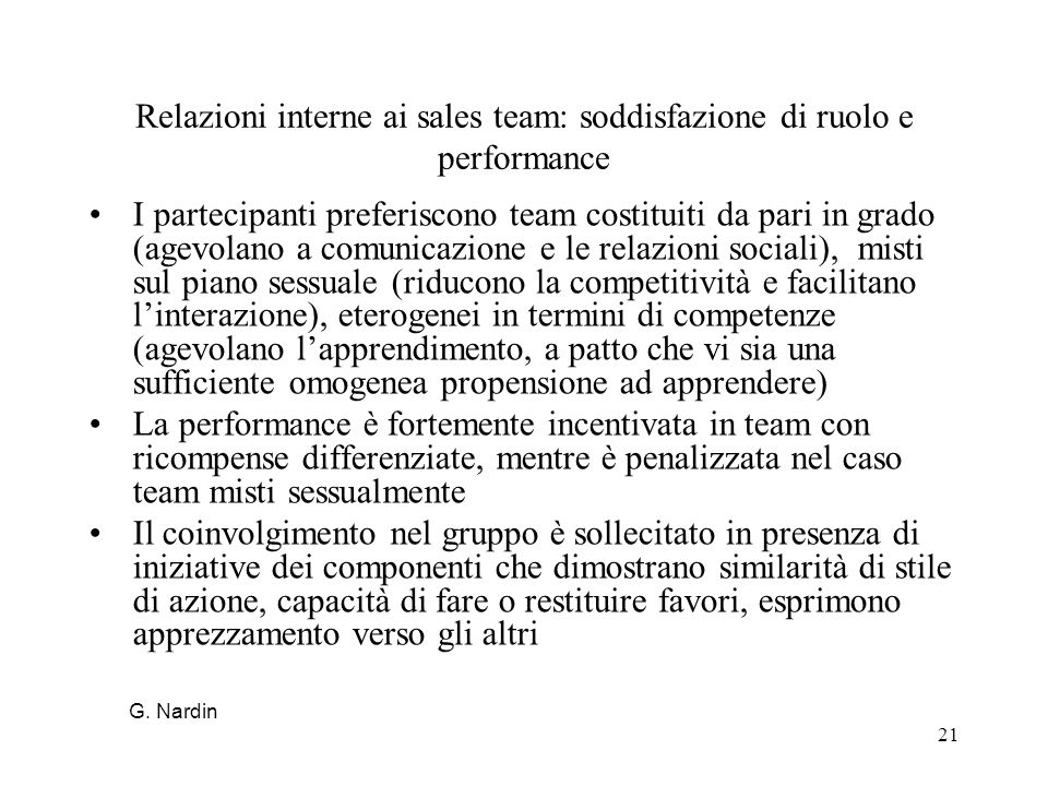 Relazioni interne ai sales team: soddisfazione di ruolo e performance