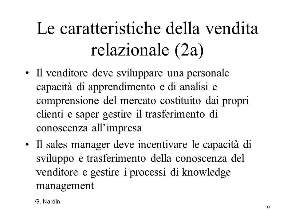 Le caratteristiche della vendita relazionale (2a)