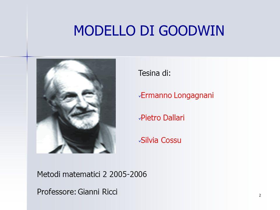 MODELLO DI GOODWIN Tesina di: Ermanno Longagnani Pietro Dallari