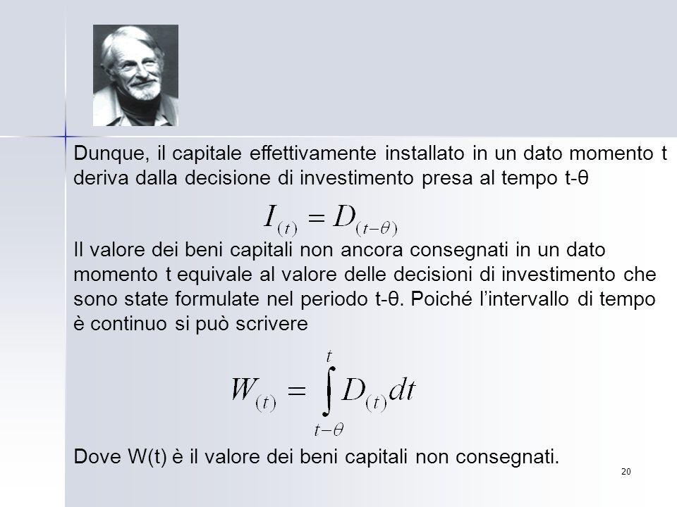 Dunque, il capitale effettivamente installato in un dato momento t deriva dalla decisione di investimento presa al tempo t-θ
