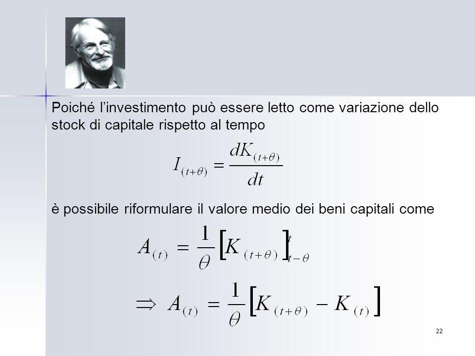 Poiché l'investimento può essere letto come variazione dello stock di capitale rispetto al tempo