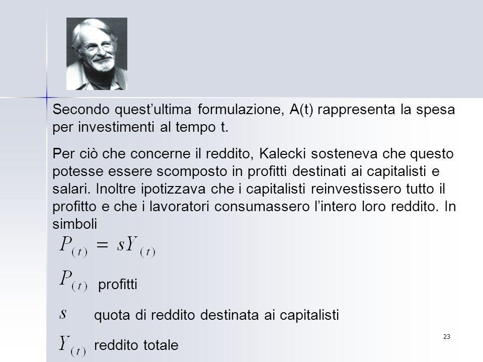 Secondo quest'ultima formulazione, A(t) rappresenta la spesa per investimenti al tempo t.