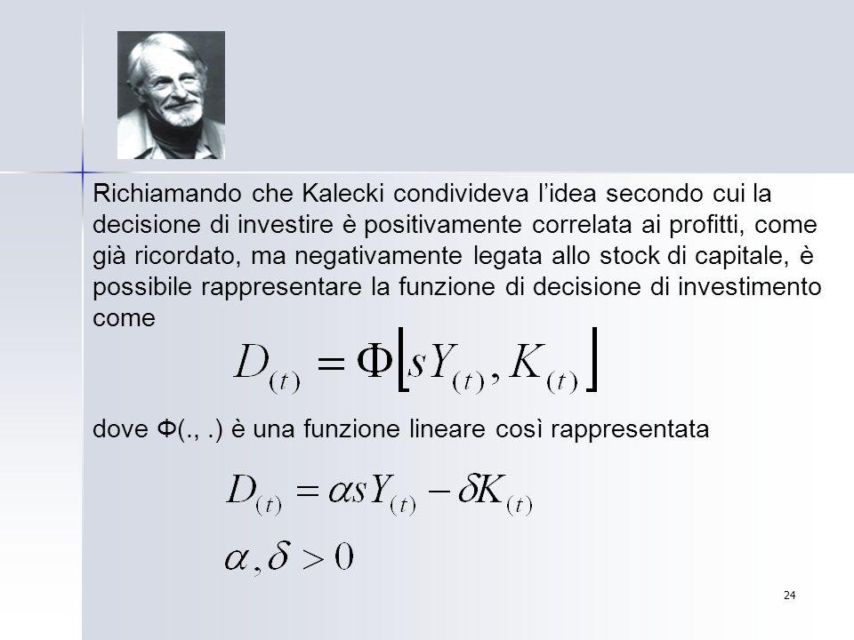 Richiamando che Kalecki condivideva l'idea secondo cui la decisione di investire è positivamente correlata ai profitti, come già ricordato, ma negativamente legata allo stock di capitale, è possibile rappresentare la funzione di decisione di investimento come