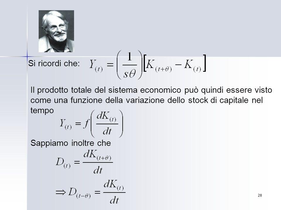 Si ricordi che: Il prodotto totale del sistema economico può quindi essere visto come una funzione della variazione dello stock di capitale nel tempo.