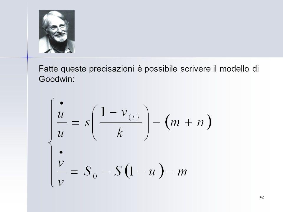 Fatte queste precisazioni è possibile scrivere il modello di Goodwin: