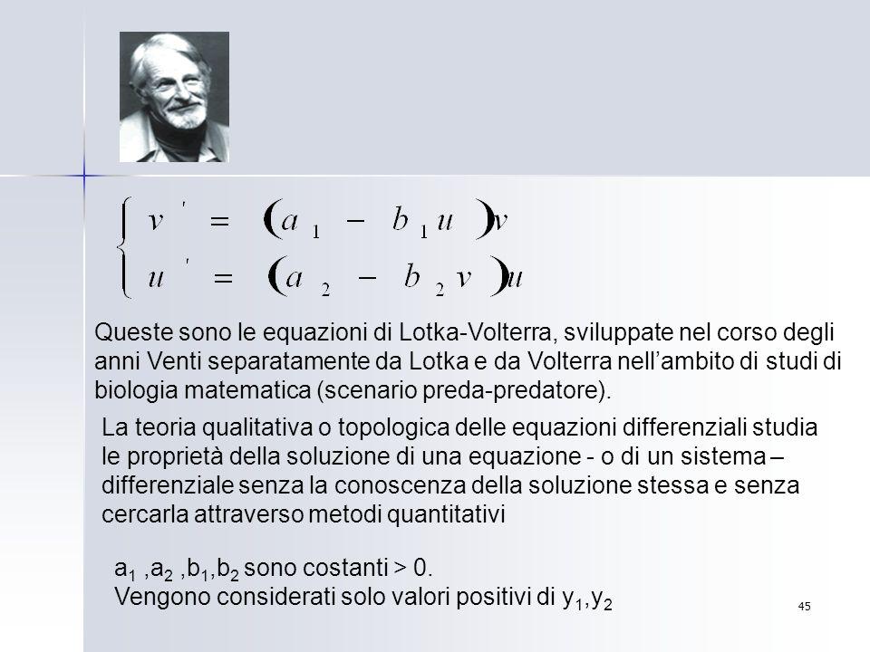 Queste sono le equazioni di Lotka-Volterra, sviluppate nel corso degli anni Venti separatamente da Lotka e da Volterra nell'ambito di studi di biologia matematica (scenario preda-predatore).