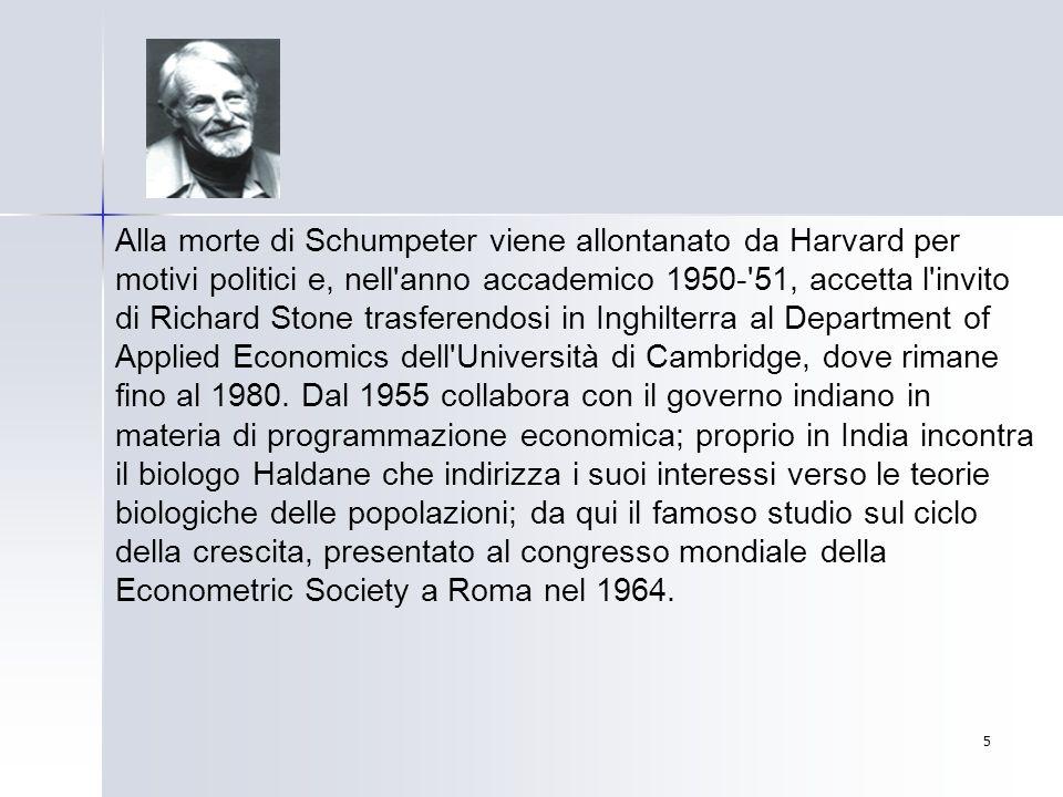 Alla morte di Schumpeter viene allontanato da Harvard per motivi politici e, nell anno accademico 1950- 51, accetta l invito di Richard Stone trasferendosi in Inghilterra al Department of Applied Economics dell Università di Cambridge, dove rimane fino al 1980.