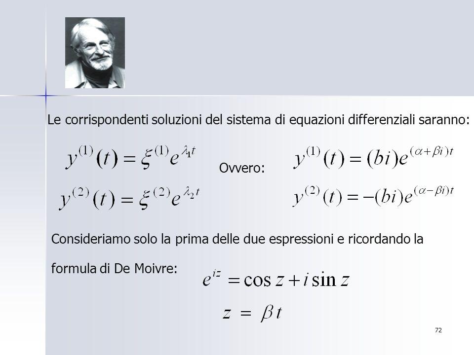 Le corrispondenti soluzioni del sistema di equazioni differenziali saranno: