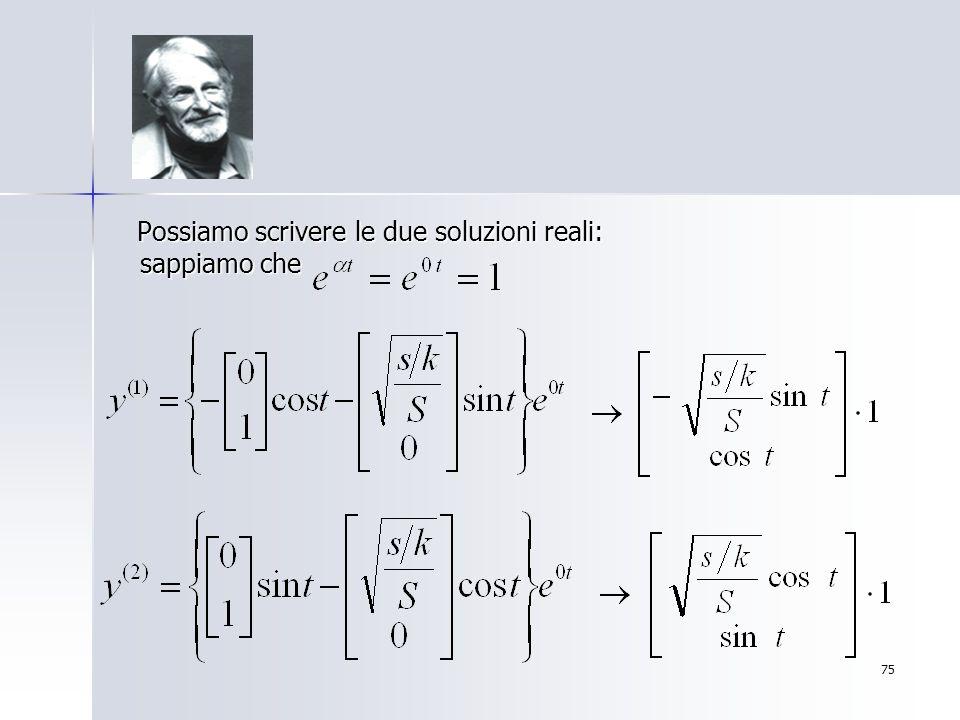 Possiamo scrivere le due soluzioni reali: sappiamo che