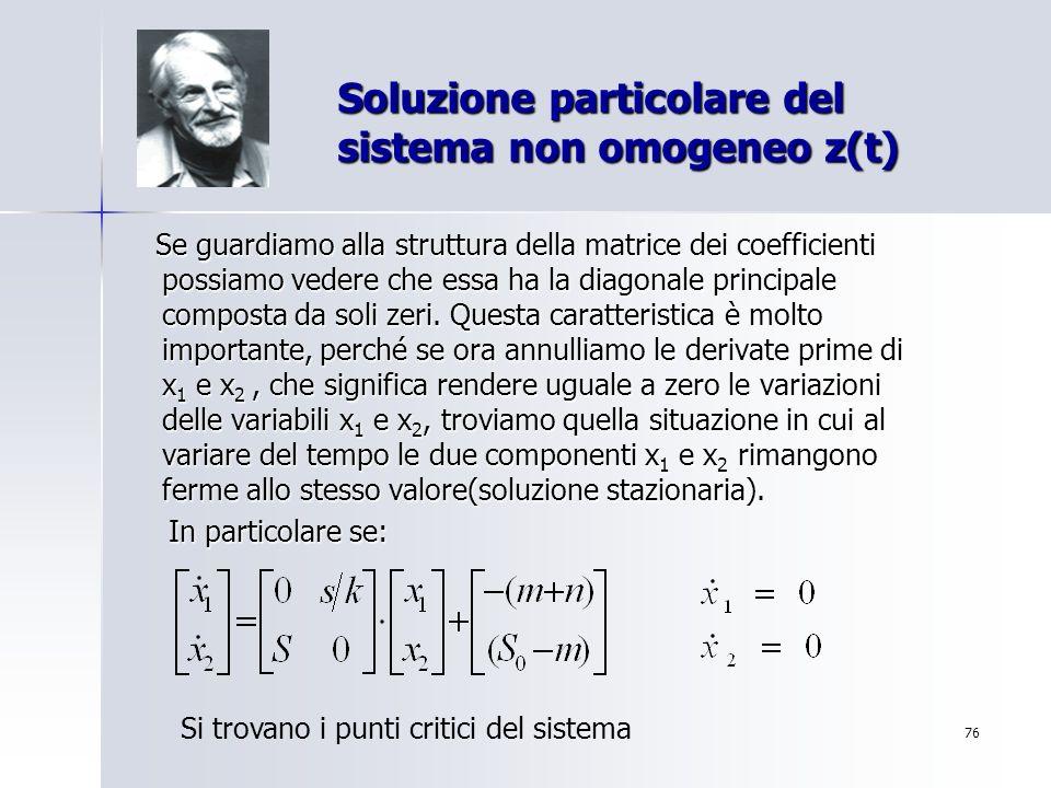 Soluzione particolare del sistema non omogeneo z(t)