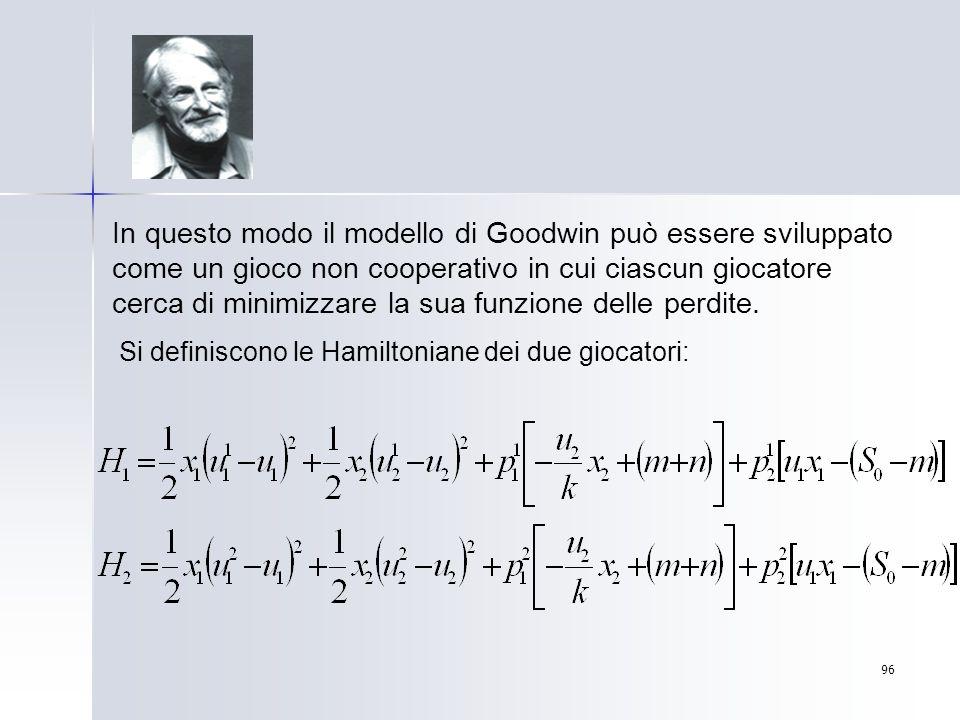 In questo modo il modello di Goodwin può essere sviluppato come un gioco non cooperativo in cui ciascun giocatore cerca di minimizzare la sua funzione delle perdite.