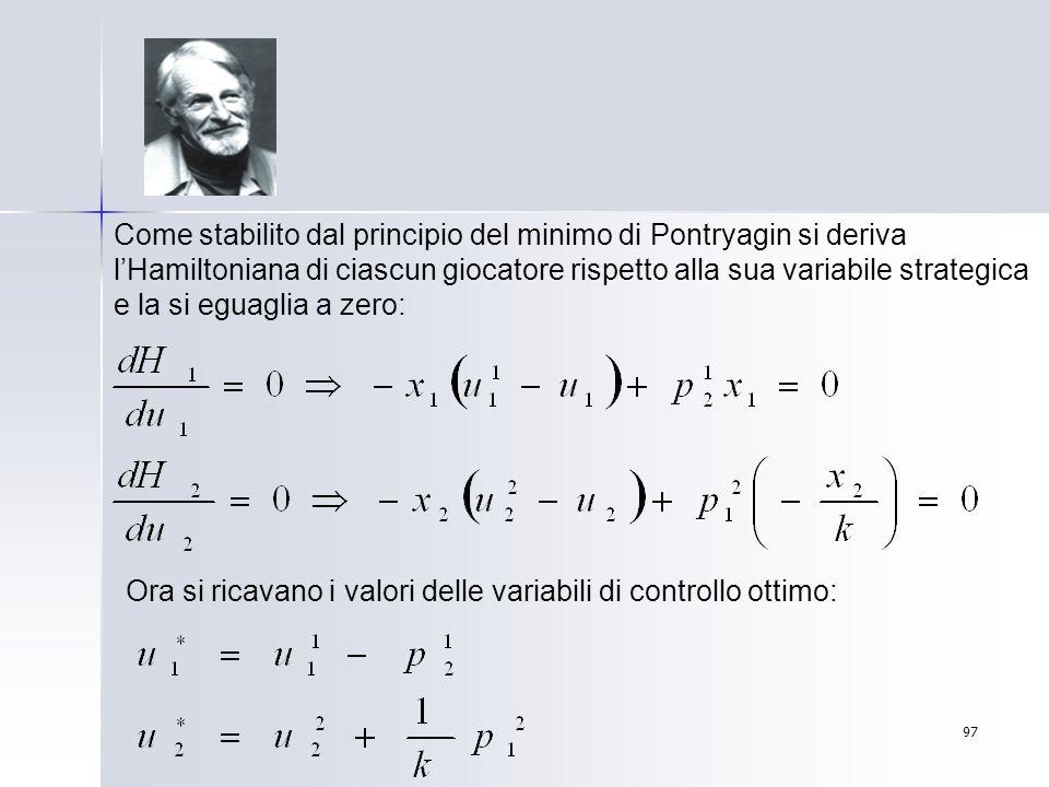 Come stabilito dal principio del minimo di Pontryagin si deriva l'Hamiltoniana di ciascun giocatore rispetto alla sua variabile strategica e la si eguaglia a zero: