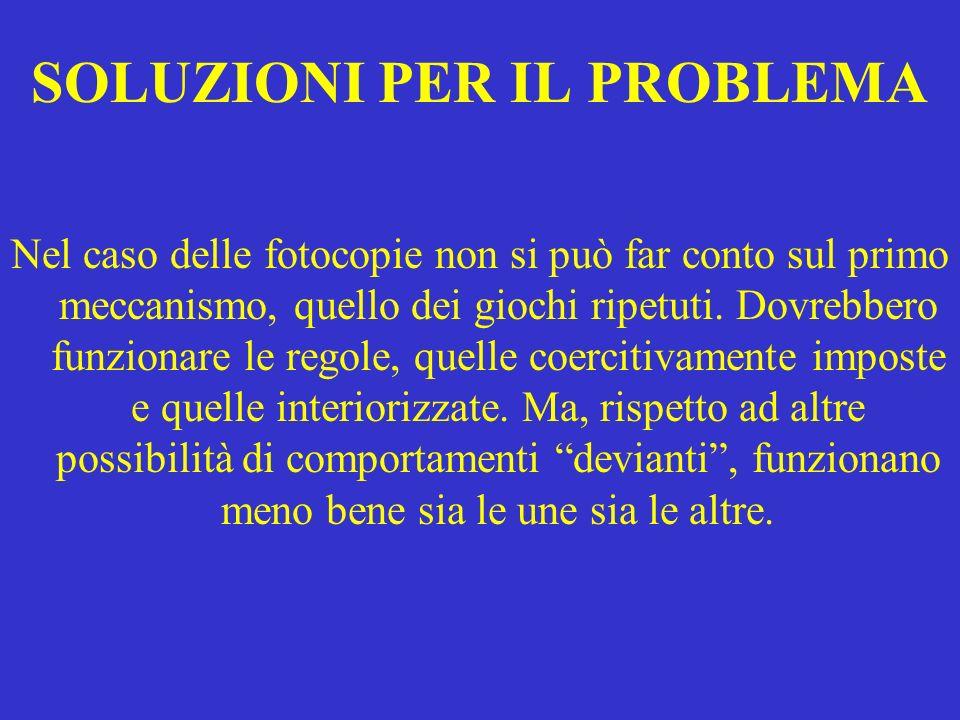 SOLUZIONI PER IL PROBLEMA