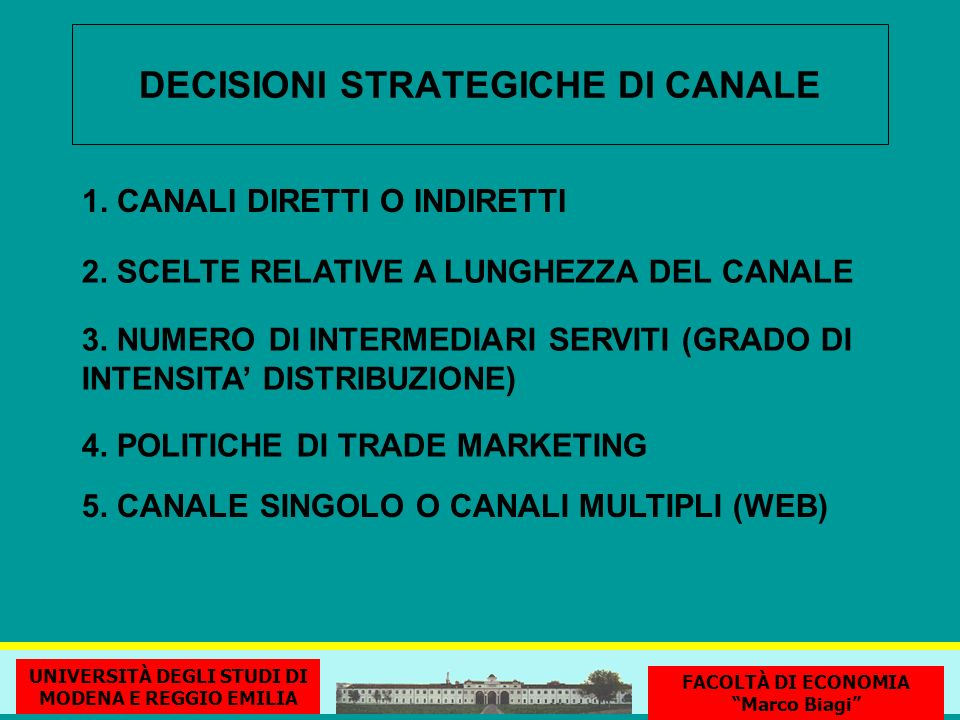 DECISIONI STRATEGICHE DI CANALE