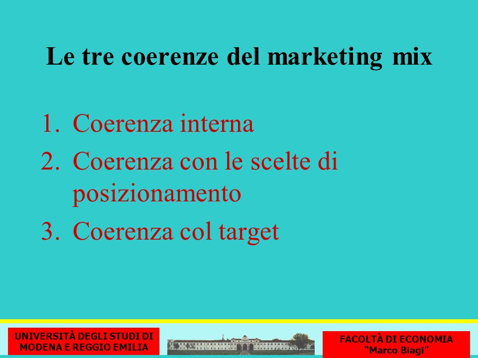 Le tre coerenze del marketing mix