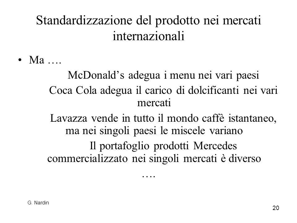 Standardizzazione del prodotto nei mercati internazionali