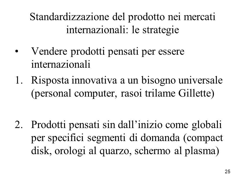 Standardizzazione del prodotto nei mercati internazionali: le strategie