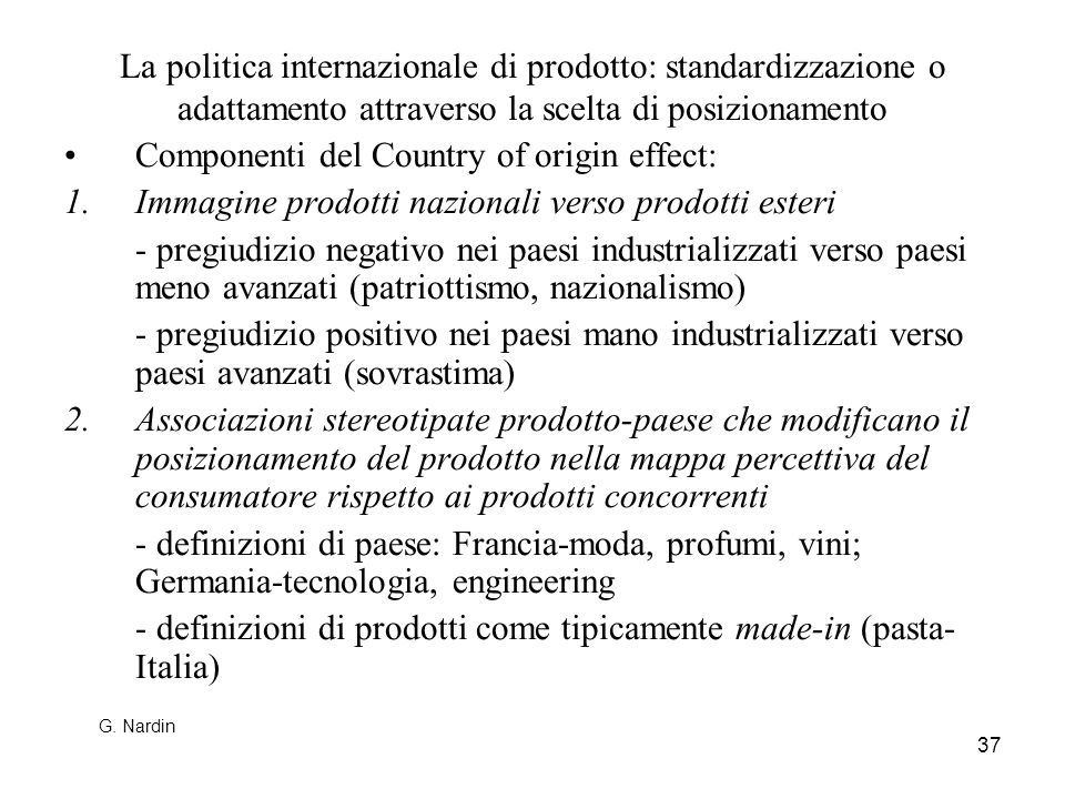 Componenti del Country of origin effect: