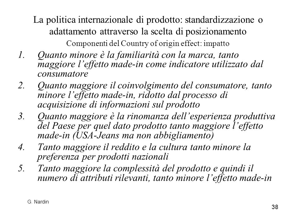 Componenti del Country of origin effect: impatto