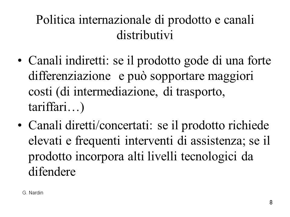 Politica internazionale di prodotto e canali distributivi