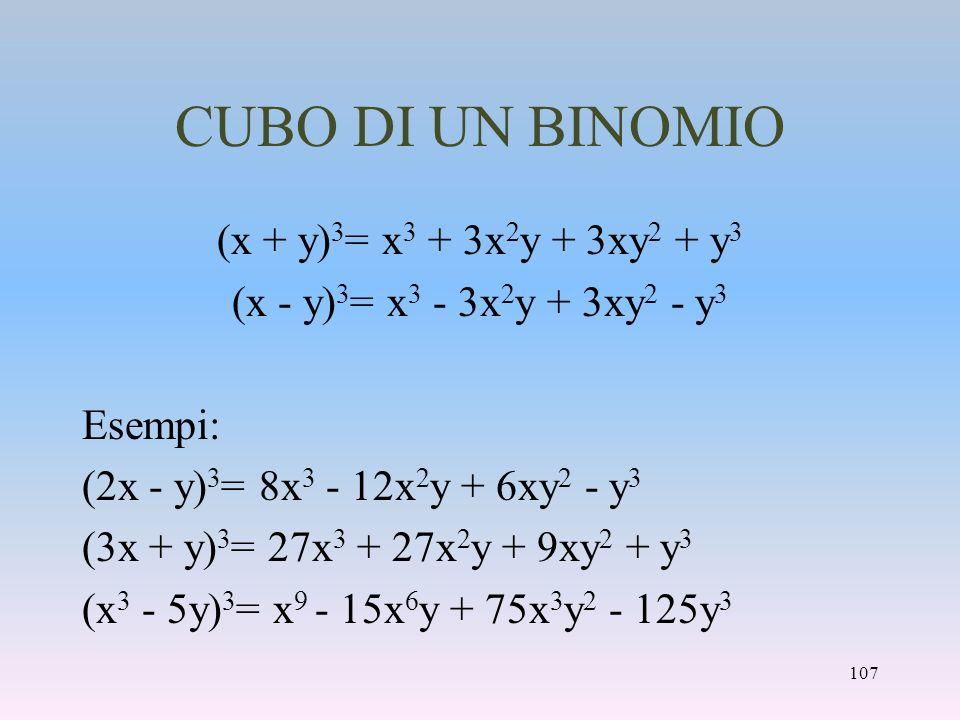 CUBO DI UN BINOMIO (x + y)3= x3 + 3x2y + 3xy2 + y3