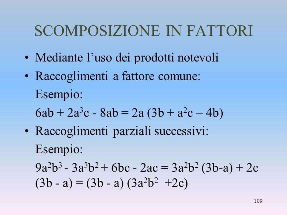 SCOMPOSIZIONE IN FATTORI
