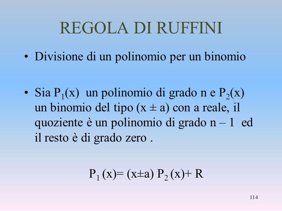 REGOLA DI RUFFINI Divisione di un polinomio per un binomio
