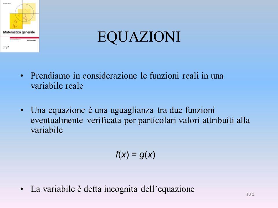 EQUAZIONI Prendiamo in considerazione le funzioni reali in una variabile reale.