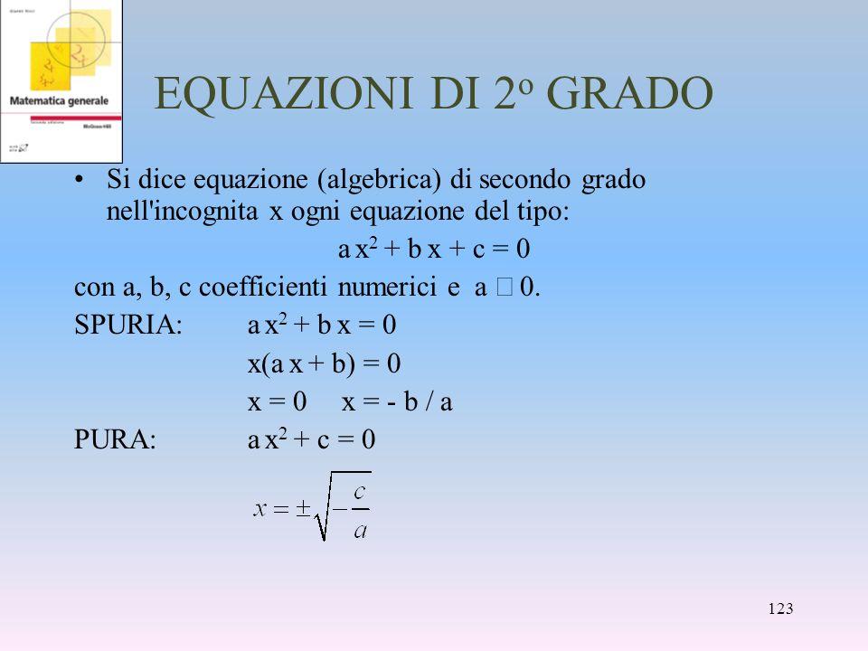 EQUAZIONI DI 2o GRADO Si dice equazione (algebrica) di secondo grado nell incognita x ogni equazione del tipo: