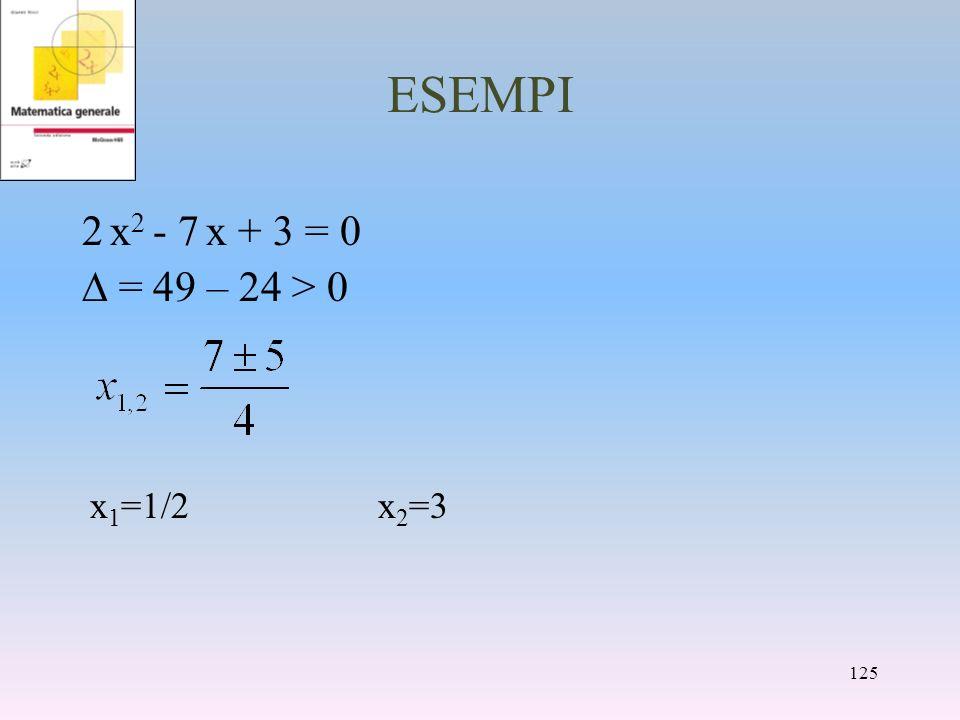 ESEMPI 2 x2 - 7 x + 3 = 0 D = 49 – 24 > 0 x1=1/2 x2=3