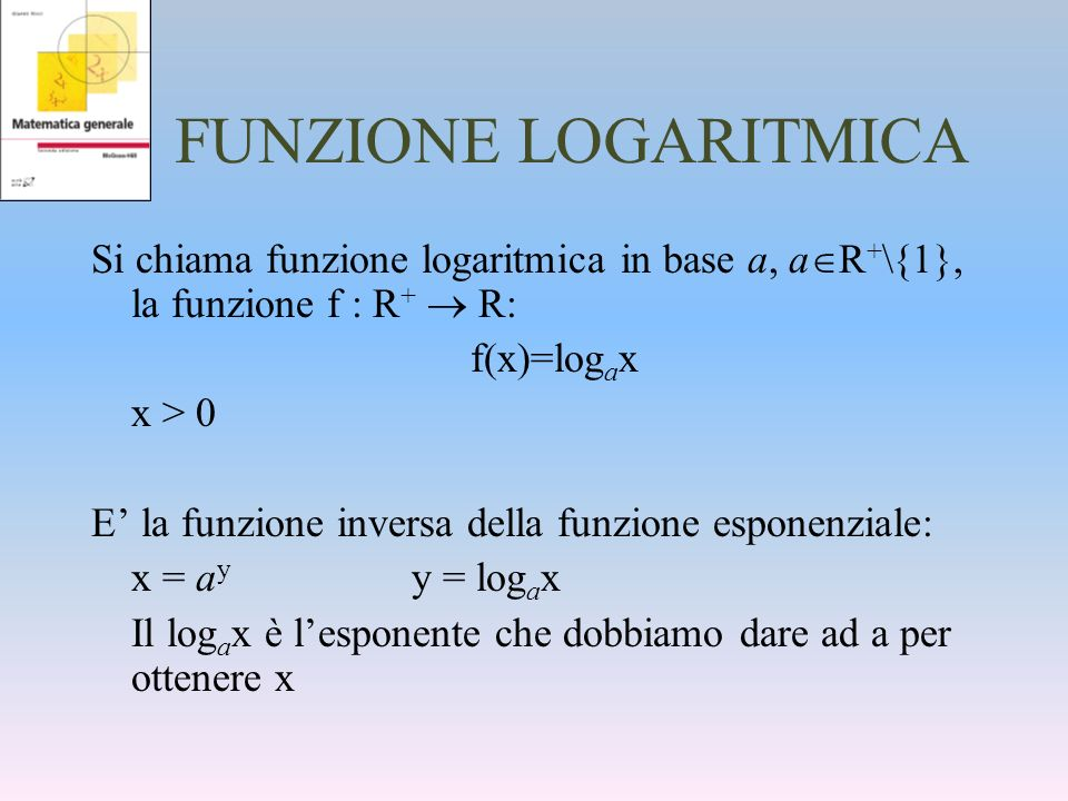 FUNZIONE LOGARITMICA Si chiama funzione logaritmica in base a, aR+\{1}, la funzione f : R+  R: f(x)=logax.