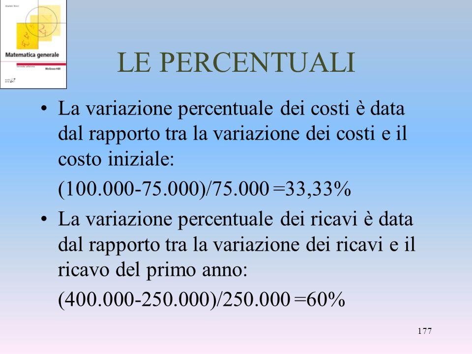 LE PERCENTUALI La variazione percentuale dei costi è data dal rapporto tra la variazione dei costi e il costo iniziale: