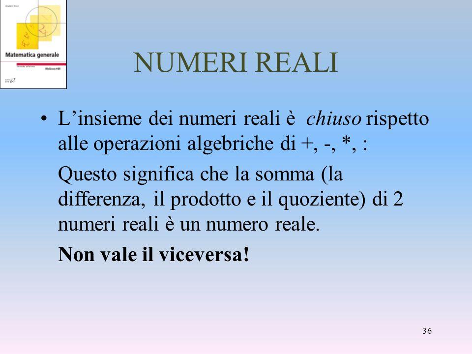 NUMERI REALI L'insieme dei numeri reali è chiuso rispetto alle operazioni algebriche di +, -, *, :