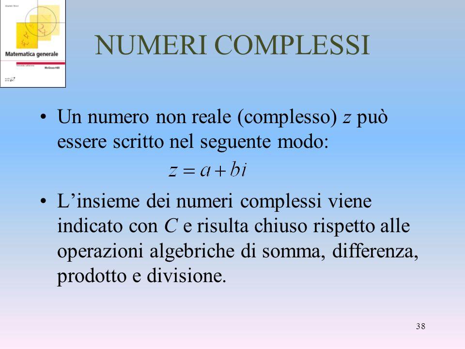 NUMERI COMPLESSI Un numero non reale (complesso) z può essere scritto nel seguente modo: