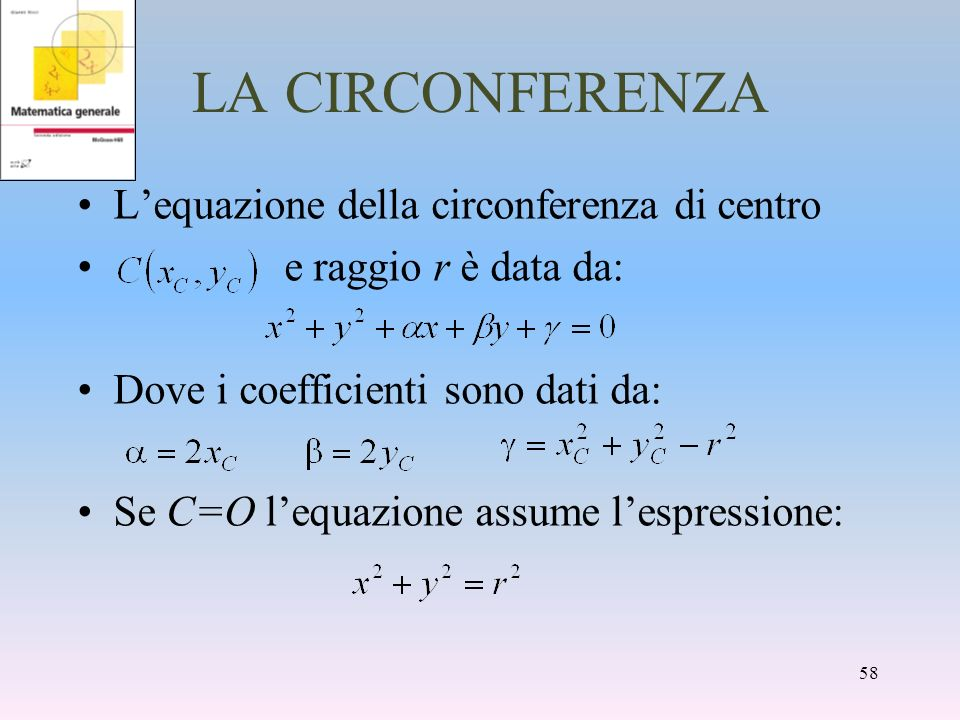 LA CIRCONFERENZA L'equazione della circonferenza di centro