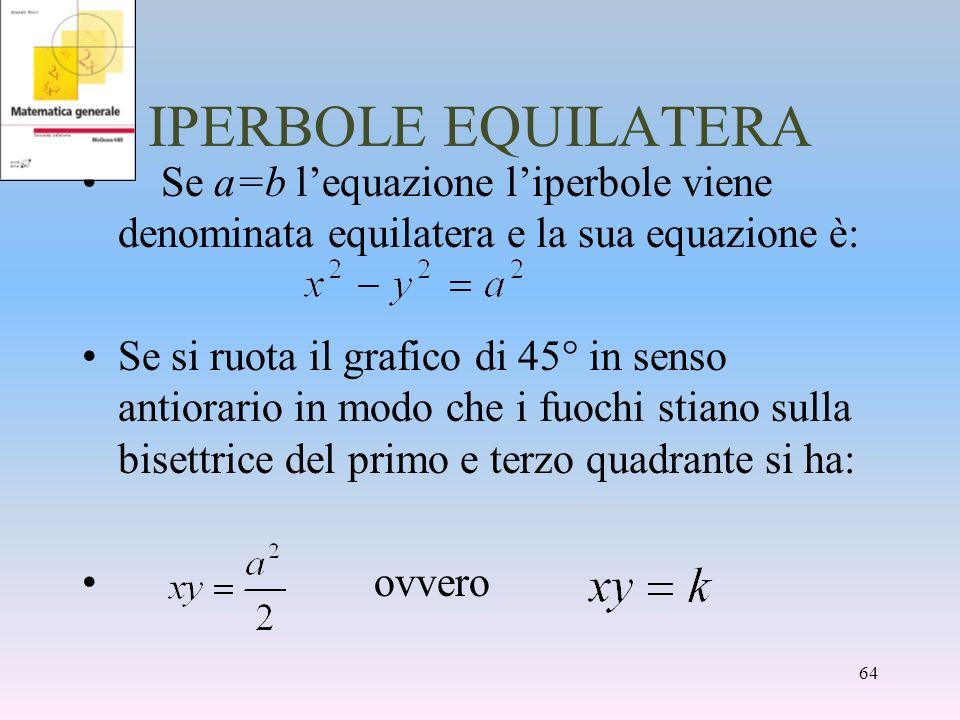 IPERBOLE EQUILATERA Se a=b l'equazione l'iperbole viene denominata equilatera e la sua equazione è: