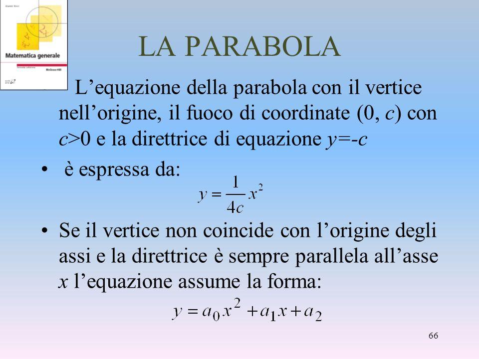 LA PARABOLA L'equazione della parabola con il vertice nell'origine, il fuoco di coordinate (0, c) con c>0 e la direttrice di equazione y=-c.
