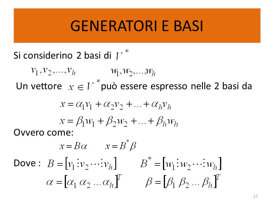 GENERATORI E BASISi considerino 2 basi di Un vettore può essere espresso nelle 2 basi da Ovvero come: Dove :