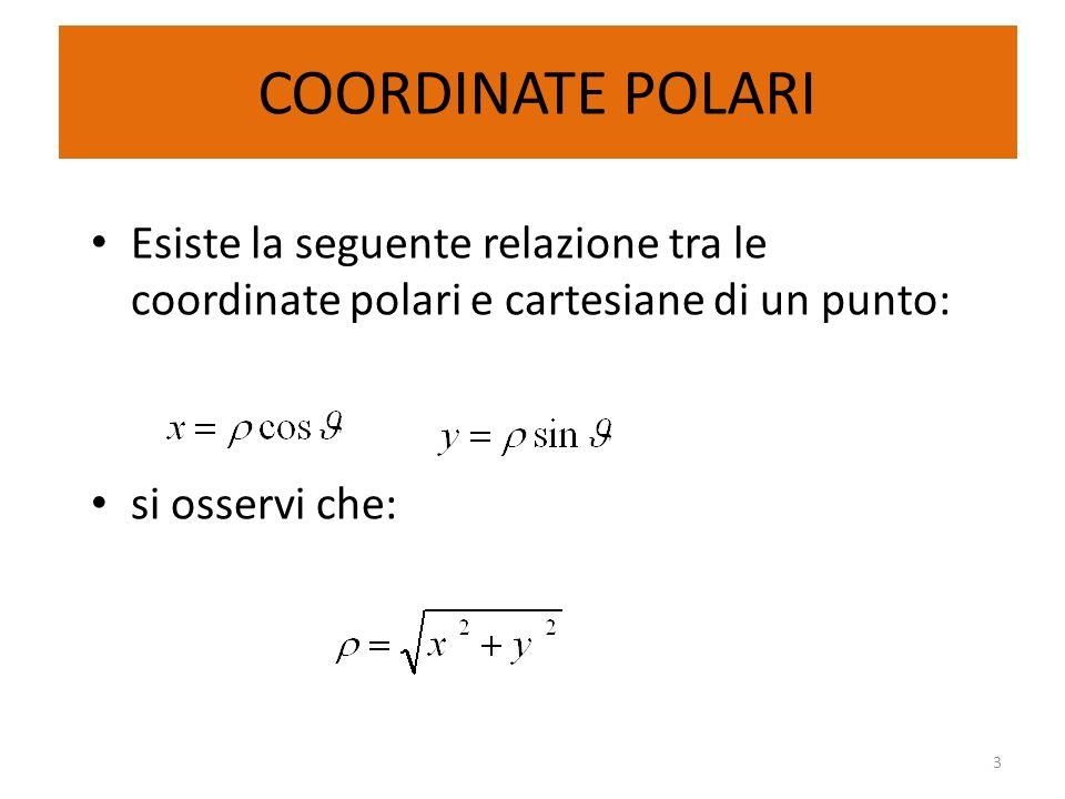 COORDINATE POLARIEsiste la seguente relazione tra le coordinate polari e cartesiane di un punto: si osservi che: