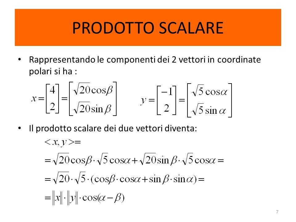 PRODOTTO SCALARERappresentando le componenti dei 2 vettori in coordinate polari si ha : Il prodotto scalare dei due vettori diventa: