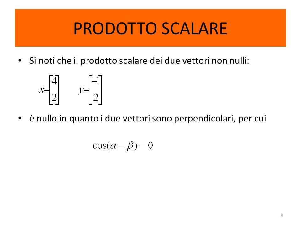PRODOTTO SCALARESi noti che il prodotto scalare dei due vettori non nulli: è nullo in quanto i due vettori sono perpendicolari, per cui.